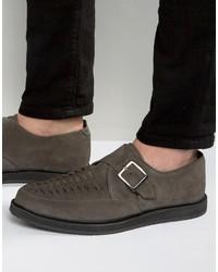 Zapatos con hebilla de ante en gris oscuro de Asos