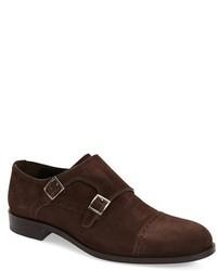 Zapatos con hebilla de ante en marrón oscuro