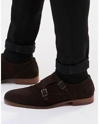 Zapatos con hebilla de ante en marrón oscuro de Hugo Boss