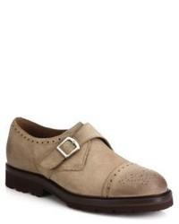 Zapatos con hebilla de ante marrón claro