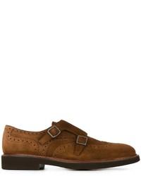 Zapatos con hebilla de ante marrónes de Canali