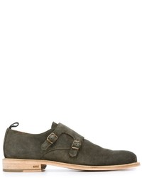 Zapatos con hebilla de ante verde oliva de AMI Alexandre Mattiussi