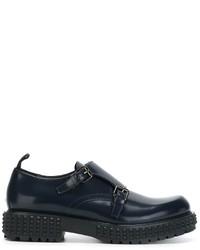 Zapatos con hebilla de cuero azul marino de Valentino