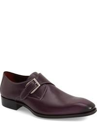 Zapatos con hebilla de cuero burdeos