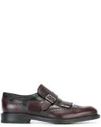 Zapatos con Hebilla de Cuero Burdeos de Salvatore Ferragamo