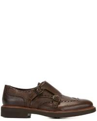 Zapatos con hebilla de cuero en marrón oscuro de Canali