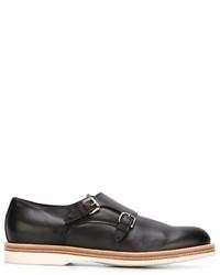 Zapatos con Hebilla de Cuero Negros de Santoni