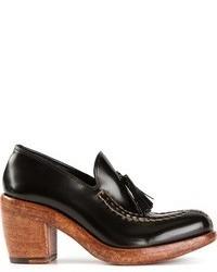 Zapatos de tacón con borlas de cuero negros de Rocco P.