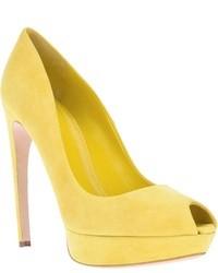 Zapatos de Tacón de Ante Amarillos de Alexander McQueen