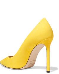 Zapatos de Tacón de Ante Amarillos de Jimmy Choo