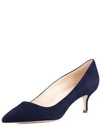 Zapatos de tacón de ante azul marino