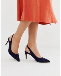 Zapatos de tacón de ante azul marino de ASOS DESIGN