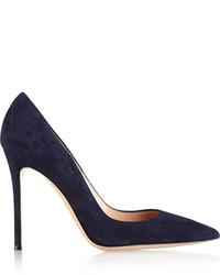 Zapatos de tacón de ante azul marino de Gianvito Rossi