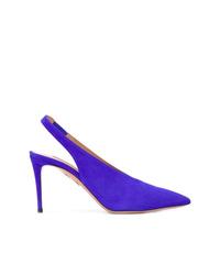 Zapatos de tacón de ante azules de Aquazzura