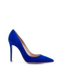 Zapatos de tacón de ante azules de Gianvito Rossi
