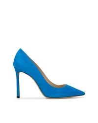 Zapatos de tacón de ante azules de Jimmy Choo