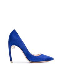 Zapatos de tacón de ante azules de Nicholas Kirkwood