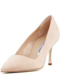 Zapatos de Tacón de Ante Beige de Manolo Blahnik