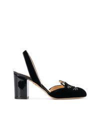 Zapatos de tacón de ante bordados negros de Charlotte Olympia