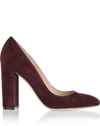 Zapatos de Tacón de Ante Burdeos de Gianvito Rossi