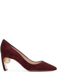 Zapatos de Tacón de Ante Burdeos de Nicholas Kirkwood