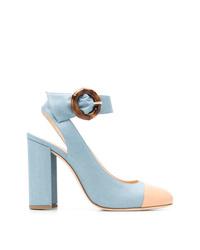 Zapatos de tacón de ante celestes de Chloe Gosselin