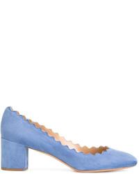 Zapatos de tacón de ante celestes de Chloé