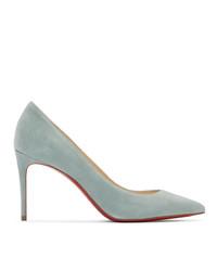 Zapatos de tacón de ante celestes de Christian Louboutin
