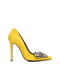 Zapatos de tacón de ante con adornos amarillos de Ermanno Scervino