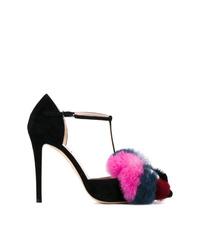 Zapatos de Tacón de Ante con Adornos Negros de Fendi