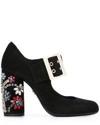 Zapatos de tacón de ante con adornos negros de Lanvin