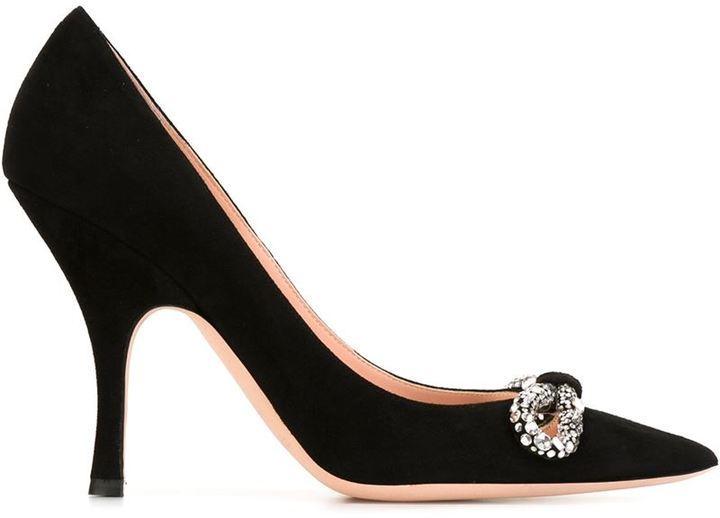 Zapatos de tacón de ante con adornos negros de Rochas