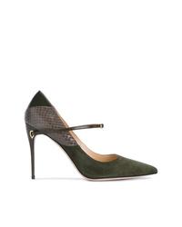 Zapatos de tacón de ante con print de serpiente verde oliva de Jennifer Chamandi