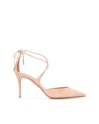 Zapatos de tacón de ante con recorte en beige de Aquazzura
