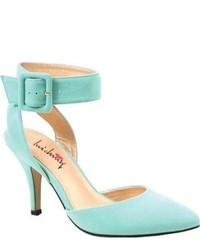 Zapatos de tacón de ante con recorte en verde menta