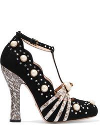 Zapatos de Tacón de Ante con Tachuelas Negros de Gucci