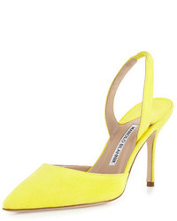 Zapatos de tacón de ante en amarillo verdoso