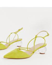 Zapatos de tacón de ante en amarillo verdoso de ASOS DESIGN