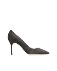 Zapatos de Tacón de Ante Gris Oscuro de Manolo Blahnik