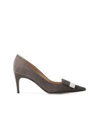 Zapatos de Tacón de Ante Gris Oscuro de Sergio Rossi