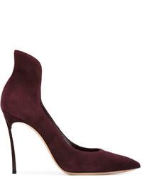 Zapatos de tacón de ante en marrón oscuro de Casadei