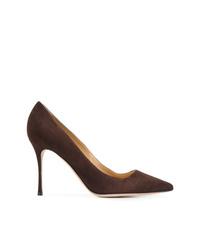 Zapatos de tacón de ante en marrón oscuro de Sergio Rossi