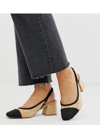 Zapatos de tacón de ante en negro y marrón claro de ASOS DESIGN