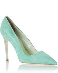 Zapatos de tacón de ante en verde menta
