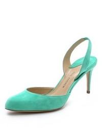 Zapatos de tacón de ante en verde menta de Paul Andrew