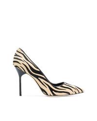 Zapatos de tacón de ante estampados marrón claro de Manolo Blahnik