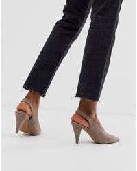 Zapatos de tacón de ante grises de ASOS DESIGN
