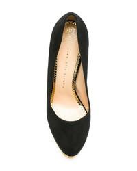 Zapatos de tacón de ante gruesos negros de Charlotte Olympia