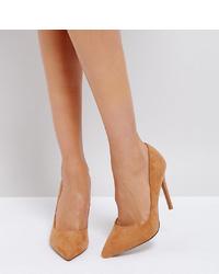 Zapatos de tacón de ante marrón claro de ASOS DESIGN