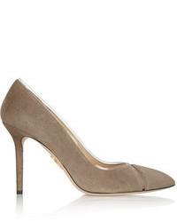 Zapatos de tacón de ante marrónes de Charlotte Olympia
